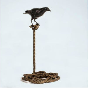 Gillie and Marc Bronze Sculpture ~ 'Harold, the Magpie on Short Rope' - Gallery Salamanca Hobart Tasmania