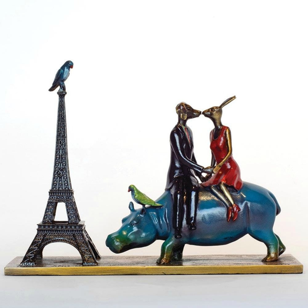 Gillie and Marc Bronze Sculpture ~ 'A Trip to the City of Love' (Miniature) - Gallery Salamanca Hobart Tasmania