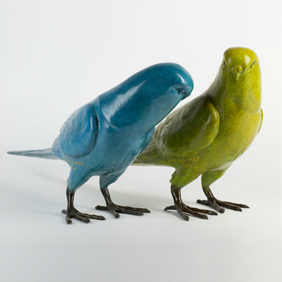 Gillie and Marc Bronze Sculpture ~ 'Budgie Lovers'