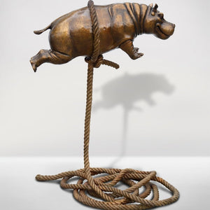 Gillie and Marc Bronze Sculpture ~ 'Flying Hippo' (Short Rope) - Gallery Salamanca Hobart Tasmania