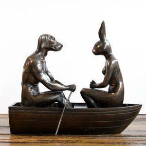 Gillie and Marc Bronze Sculpture ~ 'He Was Sea Sick but She Was So Happy So She Smiled and Kept Rowing' - Gallery Salamanca Hobart Tasmania