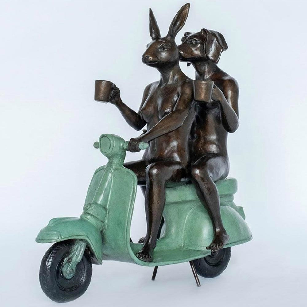 Gillie and Marc Bronze Sculpture ~ 'Their Morning Ride Started with Coffee and a Kiss' - Gallery Salamanca Hobart Tasmania