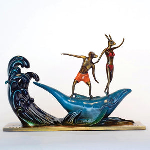 Gillie and Marc Bronze Sculpture ~ 'They Had a Whale of a Time in Bondi' (Miniature) - Gallery Salamanca Hobart Tasmania