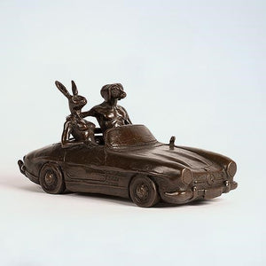 Gillie and Marc Bronze Sculpture ~  'They Loved Breaking the Speed Limit' - Gallery Salamanca Hobart Tasmania