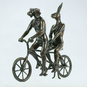 Gillie and Marc Bronze Sculpture ~ 'They Loved Riding Together in Paris' (Blue) - Gallery Salamanca Hobart Tasmania