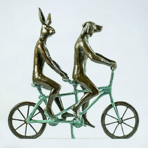 Gillie and Marc Bronze Sculpture ~ 'They Loved Riding Together in Paris' (Green) - Gallery Salamanca Hobart Tasmania