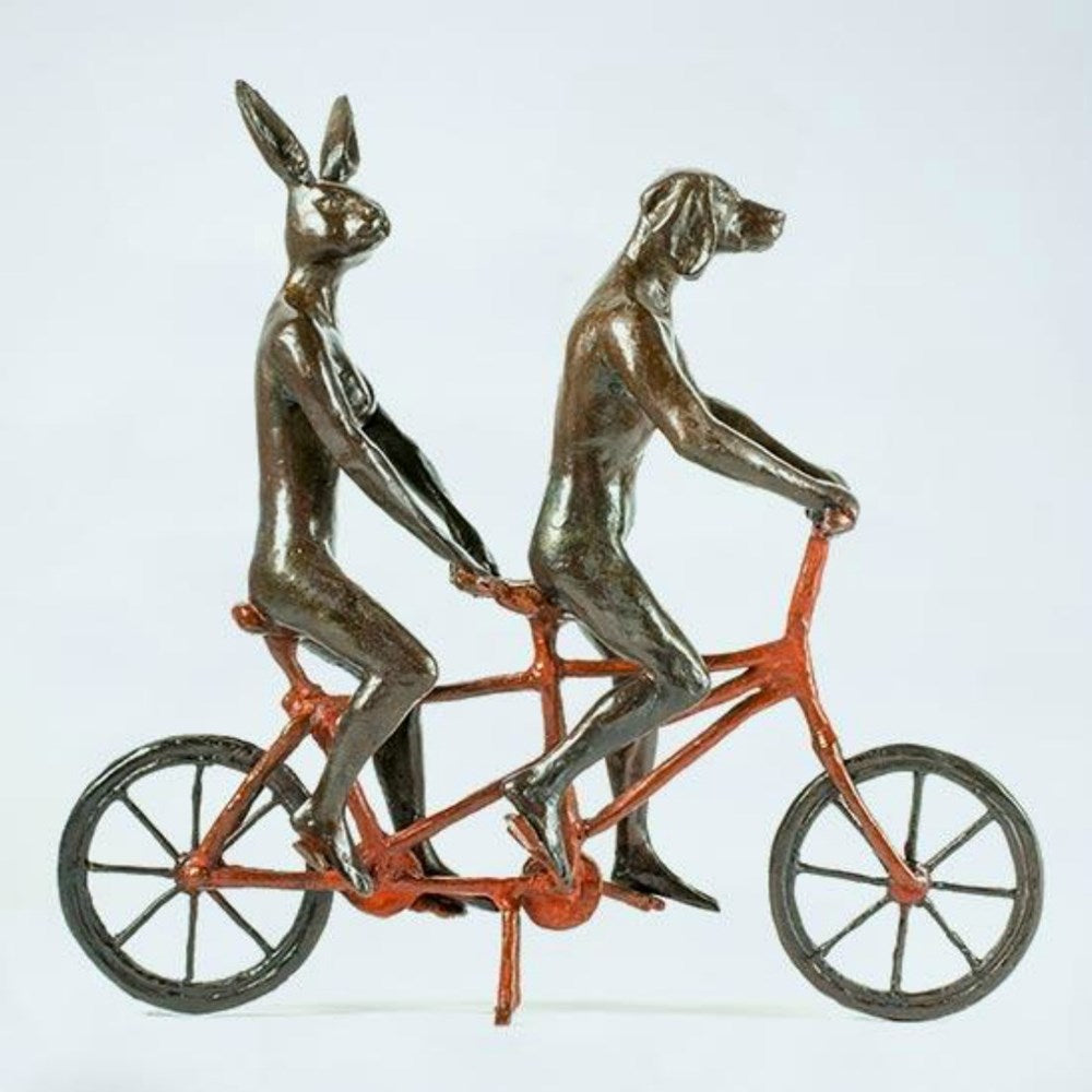 Gillie and Marc Bronze Sculpture ~ 'They Loved Riding Together in Paris' (Red) - Gallery Salamanca Hobart Tasmania