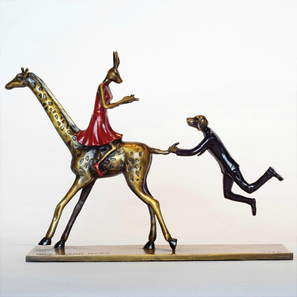 Gillie and Marc Bronze Sculpture ~ 'They Loved Wildlife and It Loved Them Back' (Miniature) - Gallery Salamanca Hobart Tasmania