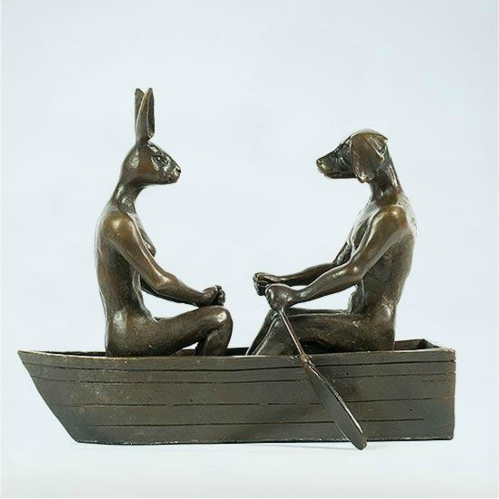 Gillie and Marc Bronze Sculpture ~ 'They Rowed, Rowed, Rowed Their Boat' - Gallery Salamanca Hobart Tasmania