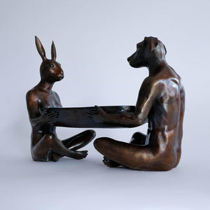 Gillie and Marc Bronze Sculpture ~ 'They Thought Nothing Would Come Between Them Except for a Bowl' - Gallery Salamanca Hobart Tasmania