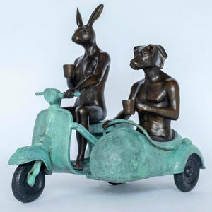 Gillie and Marc Bronze Sculpture ~ 'They Were Always Side By Side' (Green) - Gallery Salamanca Hobart Tasmania