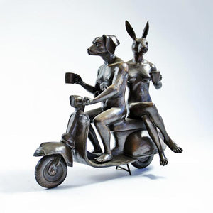 Gillie and Marc Bronze Sculpture ~ 'They Loved Coffee, Riding and Each Other' - Gallery Salamanca Hobart Tasmania
