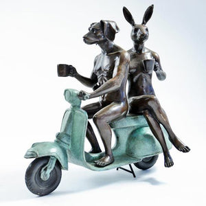 Gillie and Marc Bronze Sculpture ~ 'They Loved Coffee, Riding and Each Other' (Green) - Gallery Salamanca Hobart Tasmania