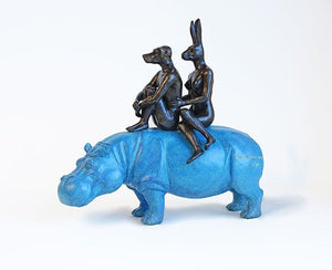 Gillie and Marc Bronze Sculpture ~ 'They Were Happy Hippo Riders' - Gallery Salamanca Hobart Tasmania