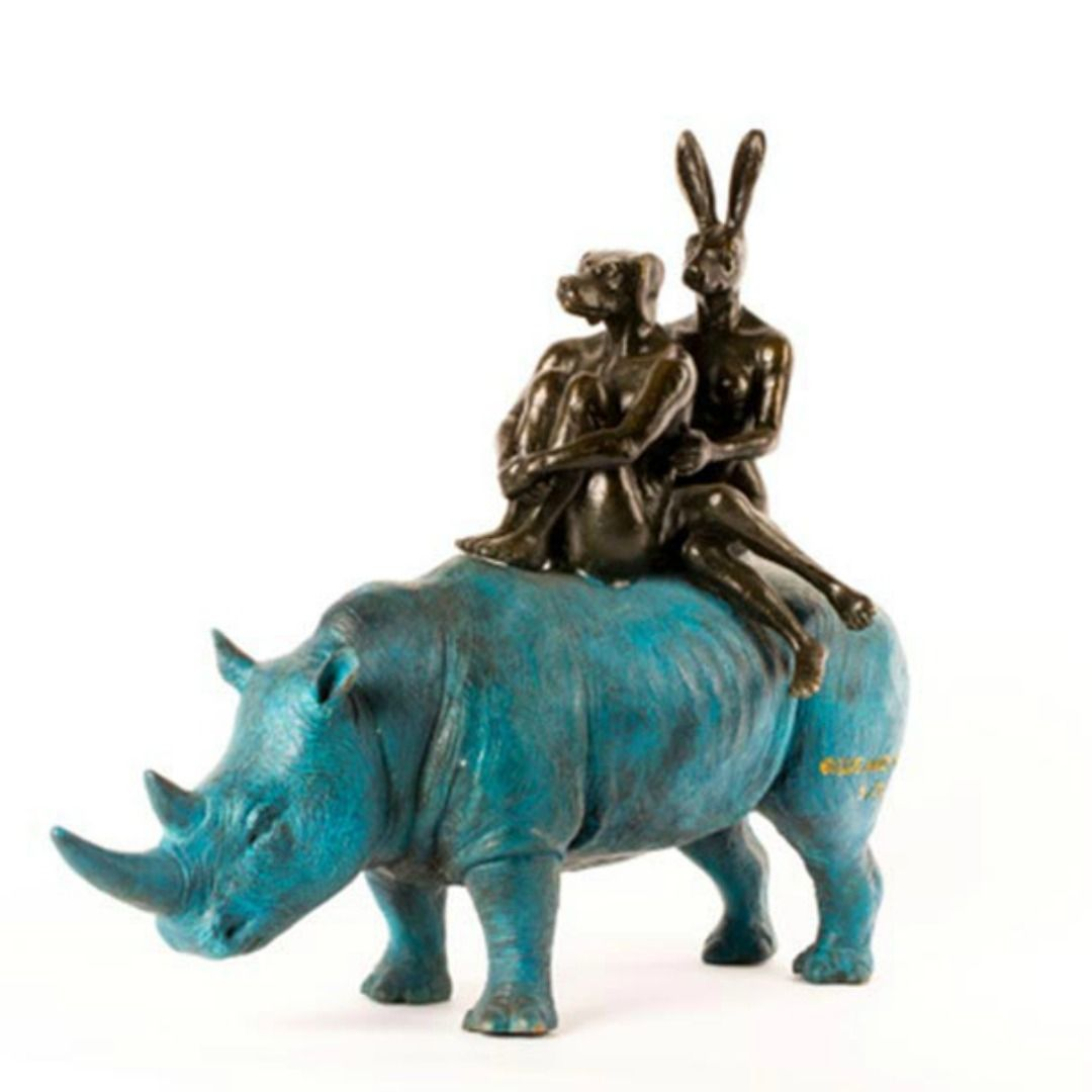 Gillie and Marc Bronze Sculpture ~ 'They Were Happy Rhino Riders' - Gallery Salamanca Hobart Tasmania