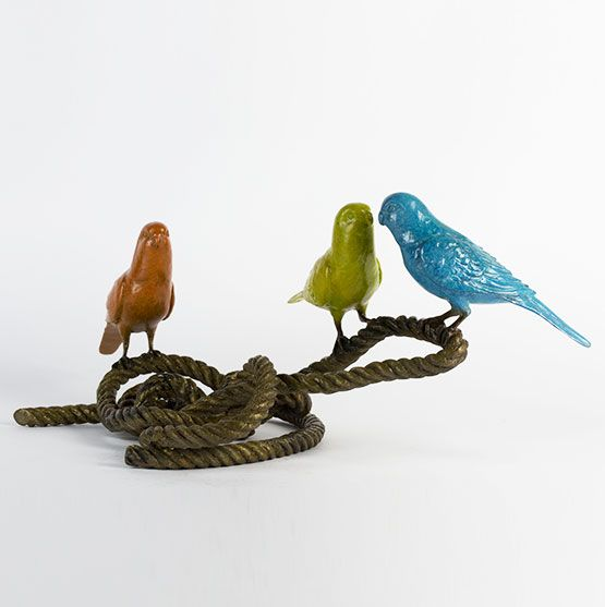 Gillie and Marc ~ Bronze 'Three Is Never a Crowd - 3 Budgies on Rope' - Gallery Salamanca Tasmania