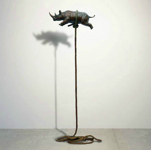 Gillie and Marc Bronze Sculpture ~ 'Flying Rhino' (Gold)