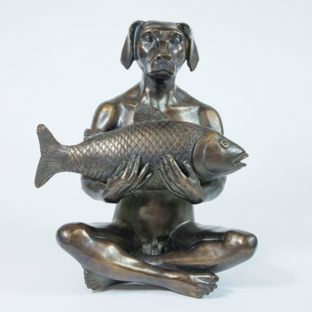Gillie and Marc Bronze Sculpture ~ 'He Had the Catch of the Day'
