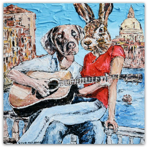 Gillie and Marc Painting ~ 'He Only Sang to Her' - Gallery Salamanca