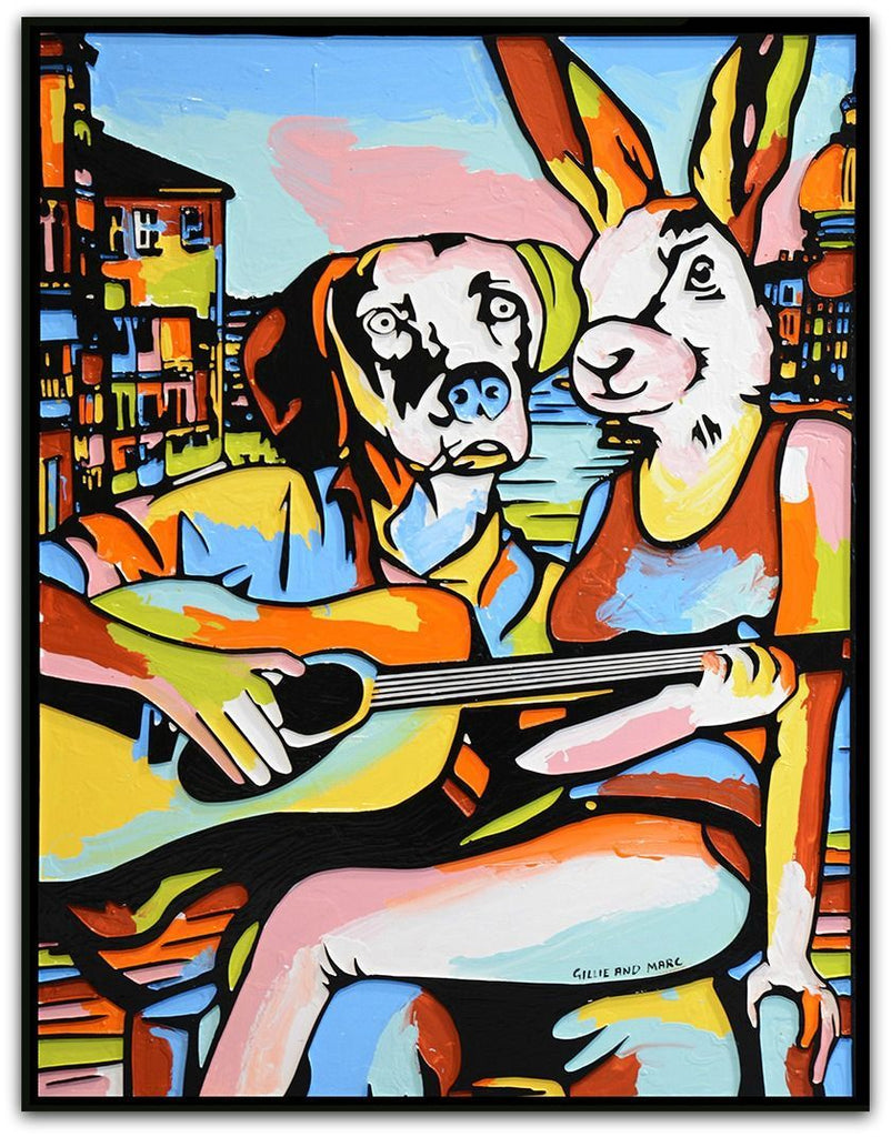 Gillie and Marc Painting ~ 'He Played and She Sang the Song of Love' - Gallery Salamanca