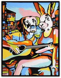 Gillie and Marc Painting ~ 'He Played and She Sang the Song of Love' - Gallery Salamanca Tasmania