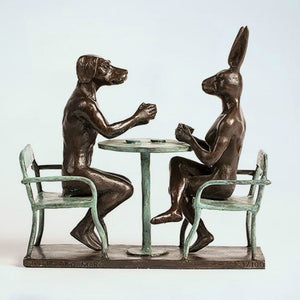 Gillie and Marc Bronze Sculpture ~ 'They Drank Coffee All Day and All Night'