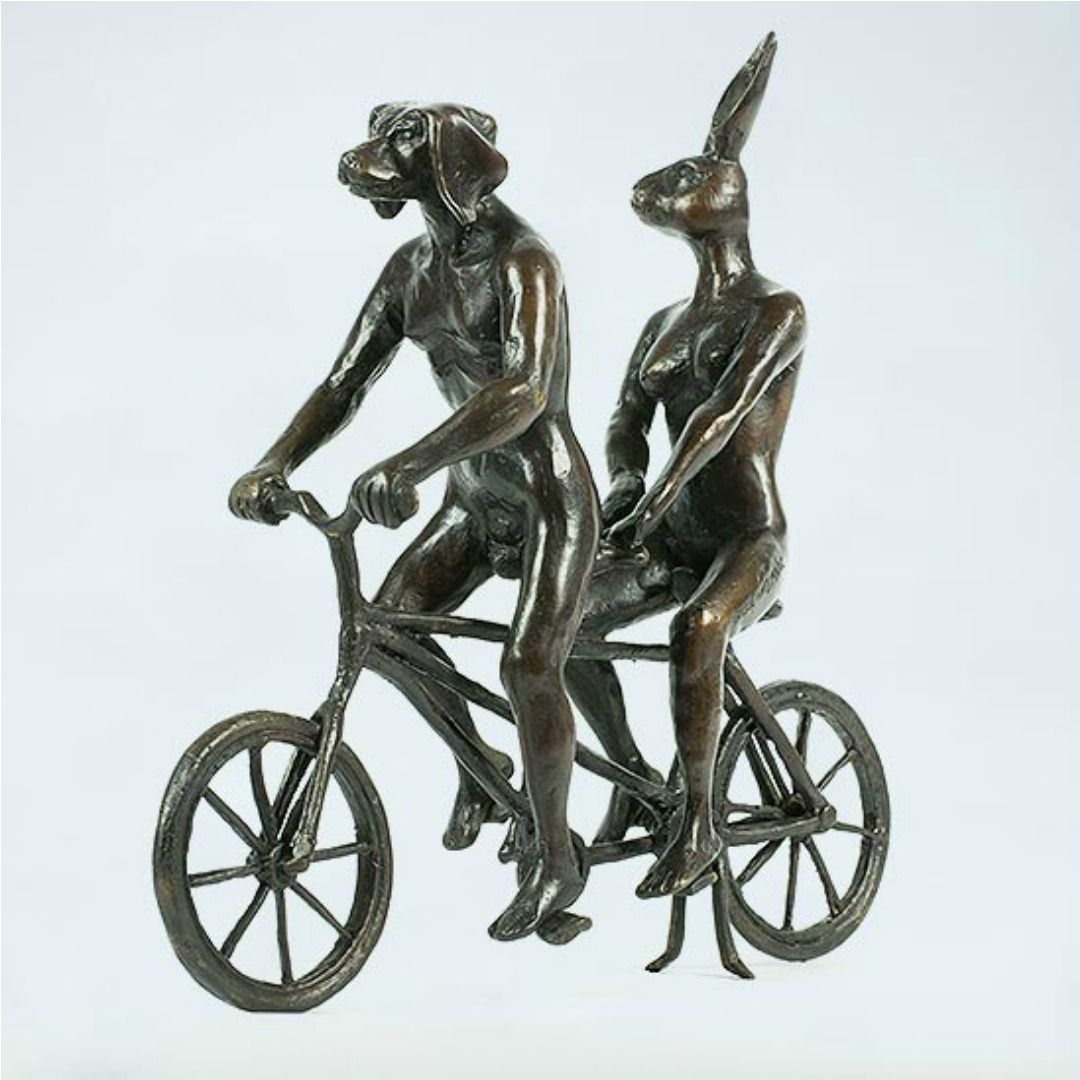 Gillie and Marc Brass Sculpture ~ 'They Loved Riding Together in Paris' - Gallery Salamanca Hobart Tasmania