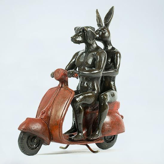 Gillie and Marc ~ Bronze 'They Were the Authentic Vespa Riders' (Red) - Gallery Salamanca Tasmania