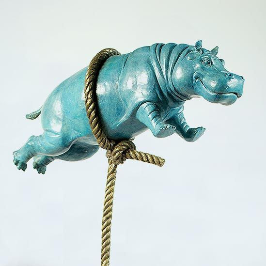 Gillie and Marc Bronze Sculpture ~ 'Flying Hippo' (Short Rope) - Gallery Salamanca Tasmania