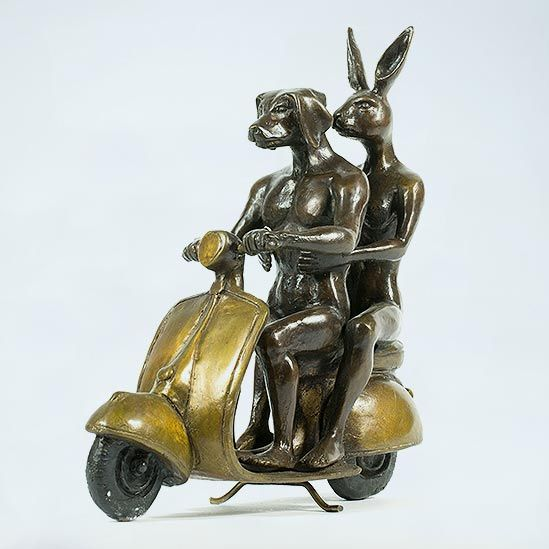 Gillie and Marc Bronze Sculpture ~ 'They were the Authentic Vespa Riders'  (Gold) - Gallery Salamanca Hobart Tasmania