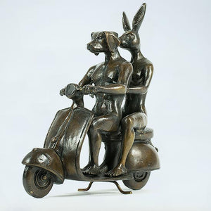 Gillie and Marc Bronze Sculpture ~ 'They Were the Authentic Vespa Riders' - Gallery Salamanca Hobart Tasmania