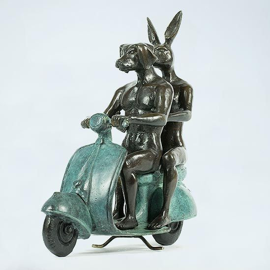 Gillie and Marc Bronze Sculpture ~ 'They Were the Authentic Vespa Riders' - Gallery Salamanca Tasmania