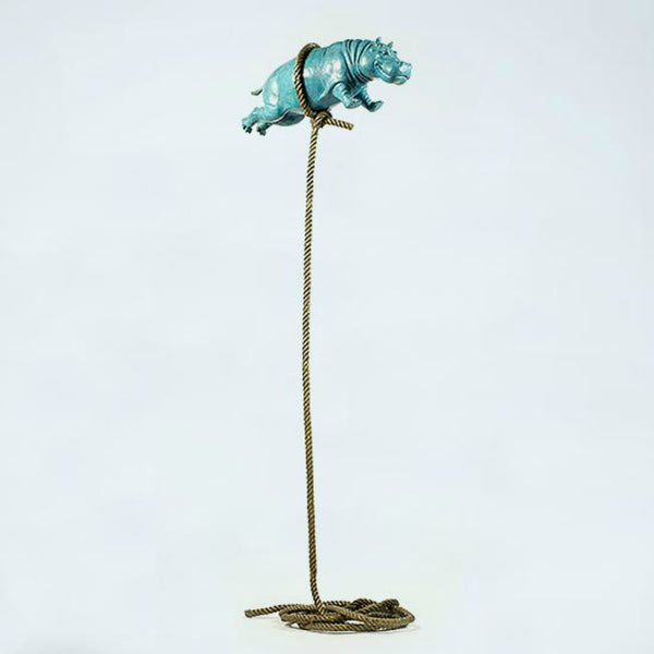 Gillie and Marc Bronze Sculpture ~ 'Flying Hippo' (Blue Patina)
