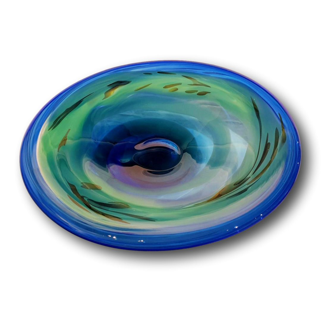 James McMurtrie Glass ~ Extra Large Bowl Cerulean) - Gallery Salamanca Hobart Tasmania