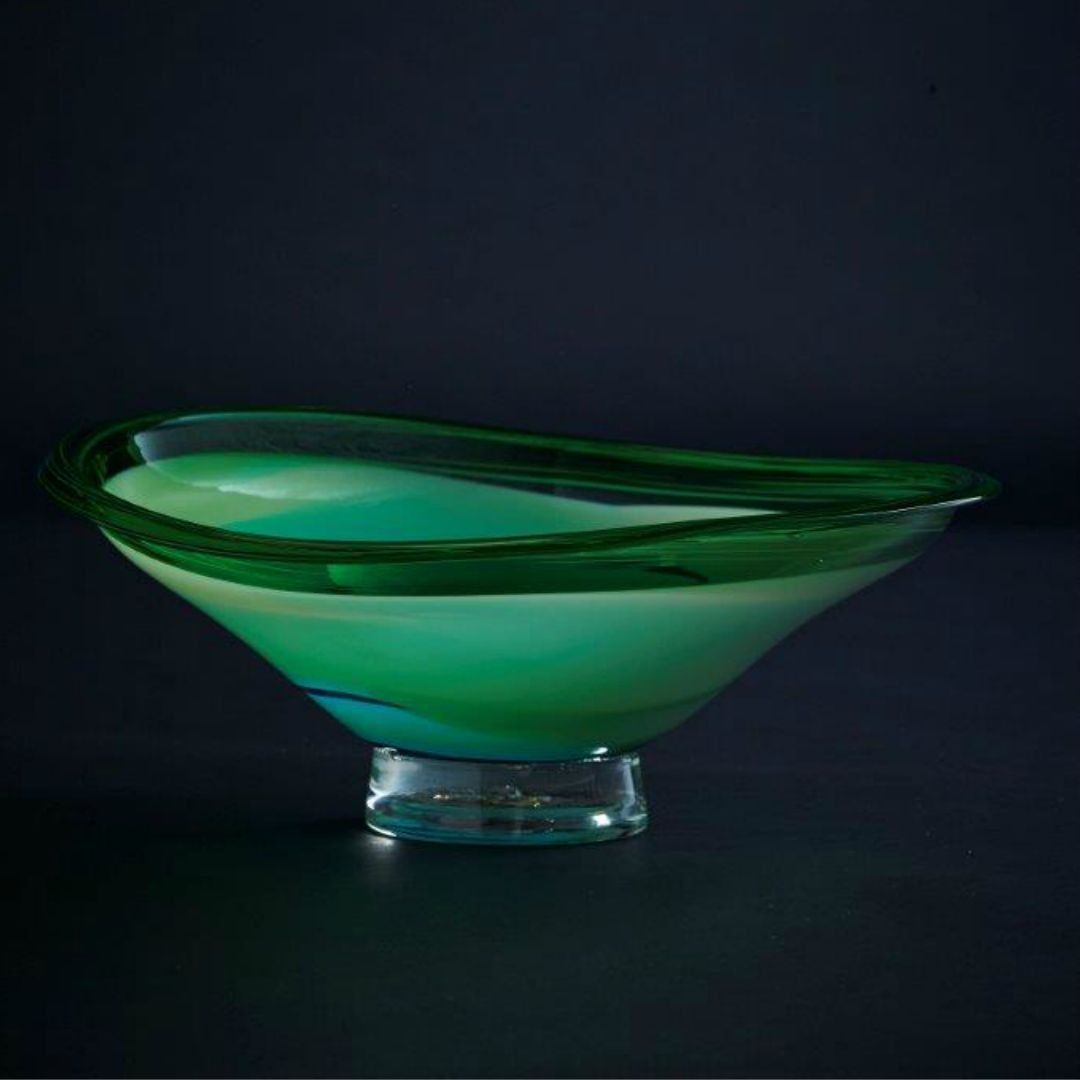 James McMurtrie Glass ~ Large Wonky Bowl (Green) - Gallery Salamanca Hobart Tasmania