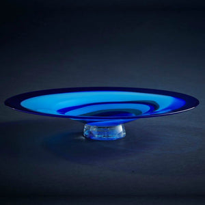 James McMurtrie Glass ~ Oval Platter (Blue) - Gallery Salamanca Hobart Tasmania