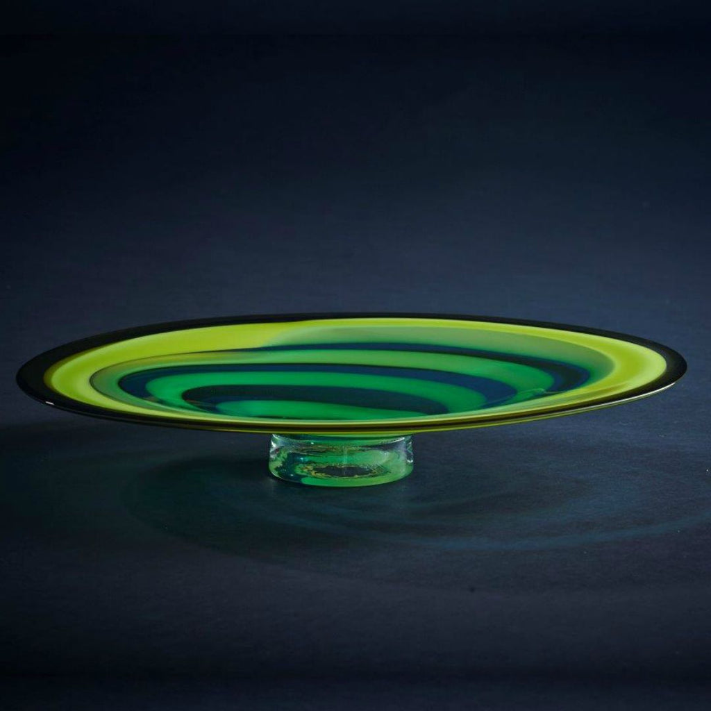 James McMurtrie Glass ~ Oval Platter (Green/Blue) - Gallery Salamanca Hobart Tasmania