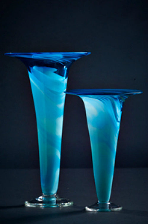 James McMurtrie Glass ~ Trumpet Vase (Blue) - Gallery Salamanca Hobart Tasmania