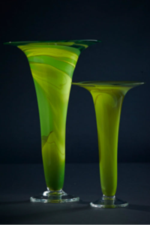 James McMurtrie Glass ~ Trumpet Vase (Green) - Gallery Salamanca Hobart Tasmania