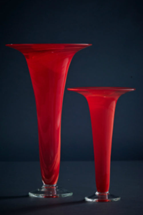 James McMurtrie Glass ~ Trumpet Vase (Red) - Gallery Salamanca Hobart Tasmania