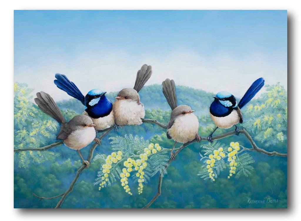 Katherine Castle Painting ~ 'Family Reunion - Superb Fairy Wrens' - Gallery Salamanca Hobart Tasmania