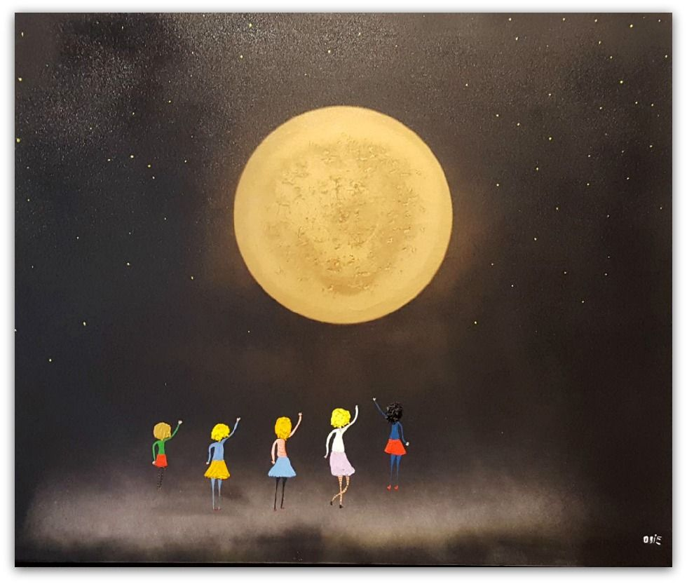 Mark O'Brien (Obie) Painting ~ 'Big Gold Moon in the Sky' - Gallery Salamanca Tasmania