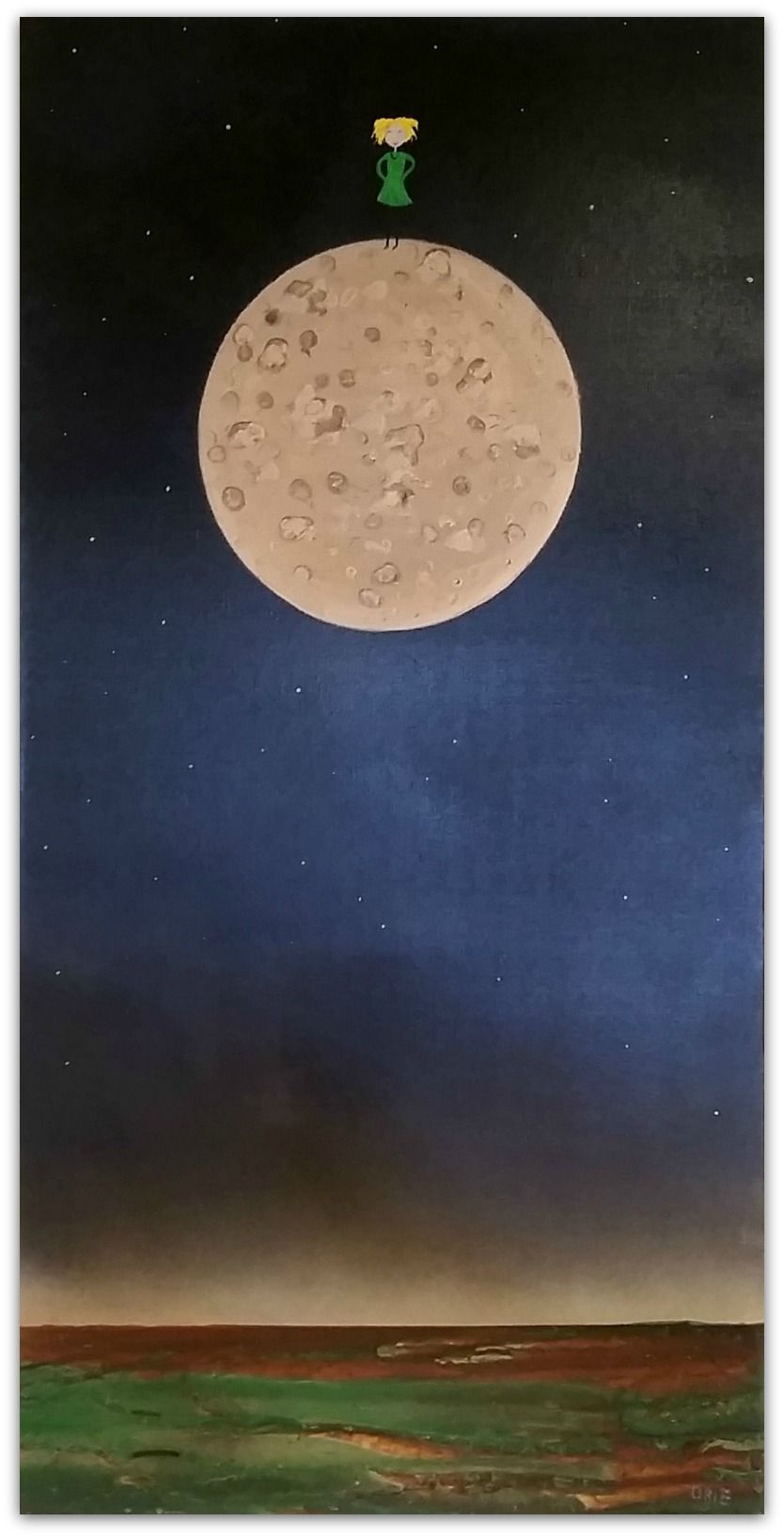 Mark O'Brien (Obie) Painting ~ 'On Top of the Moon' - Gallery Salamanca Tasmania