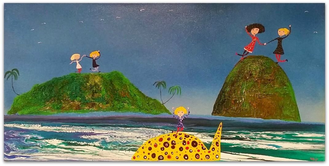 Mark O'Brien (Obie) Painting ~ 'Tropical Islands' - Gallery Salamanca Tasmania