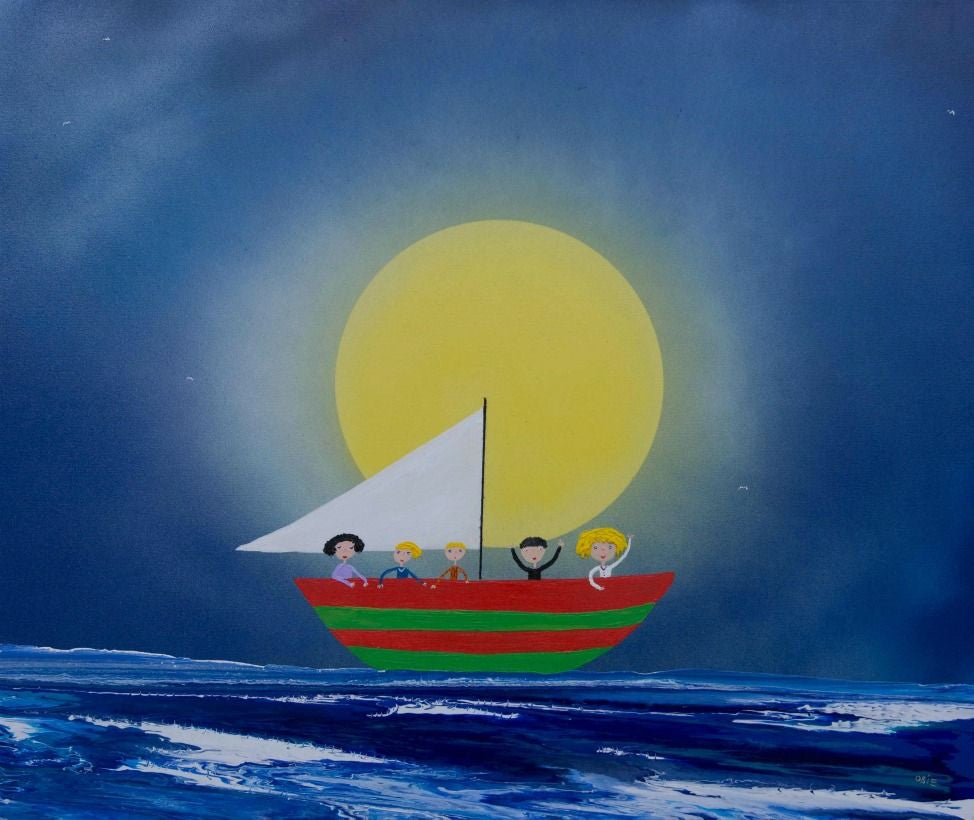 Mark O'Brien (Obie) Painting ~ 'Five in a Boat' - Gallery Salamanca Tasmania