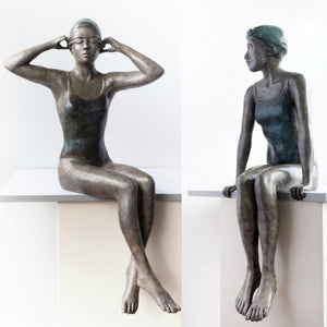 Mela Cooke Bronze Sculpture ~ 'Chatter' (Left) - Gallery Salamanca Hobart Tasmania