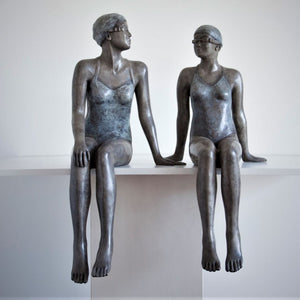 Mela Cooke Bronze Sculpture ~ 'Early Mornings' Pair - Gallery Salamanca Hobart Tasmania
