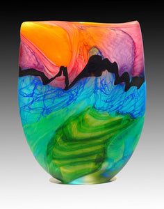 Noel Hart Art Glass ~ 'Blossom Headed Parakeet' - Gallery Salamanca Tasmania