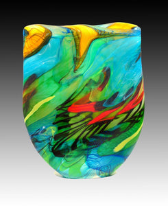 Noel Hart Art Glass ~ 'Swift Parrot on Bruny Island' - Gallery Salamanca