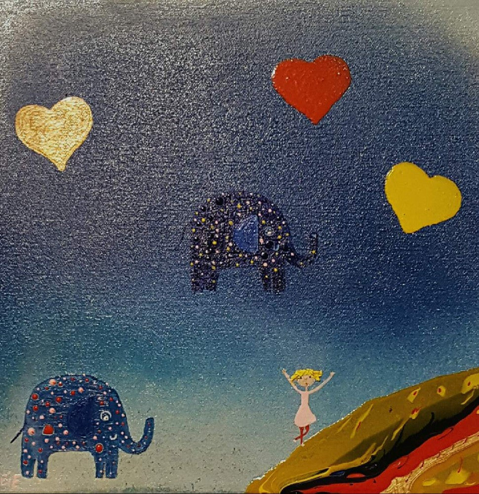 Mark O'Brien (Obie) Painting ~ Hearts and Elephants - Gallery Salamanca